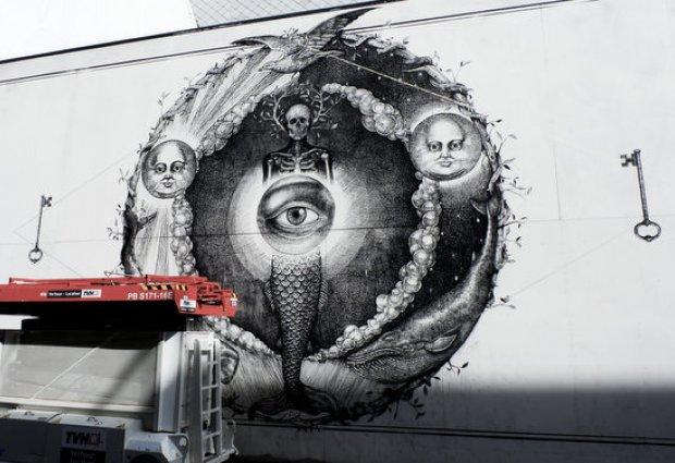 Muurschildering The Crystal Ship door Alexis diaz