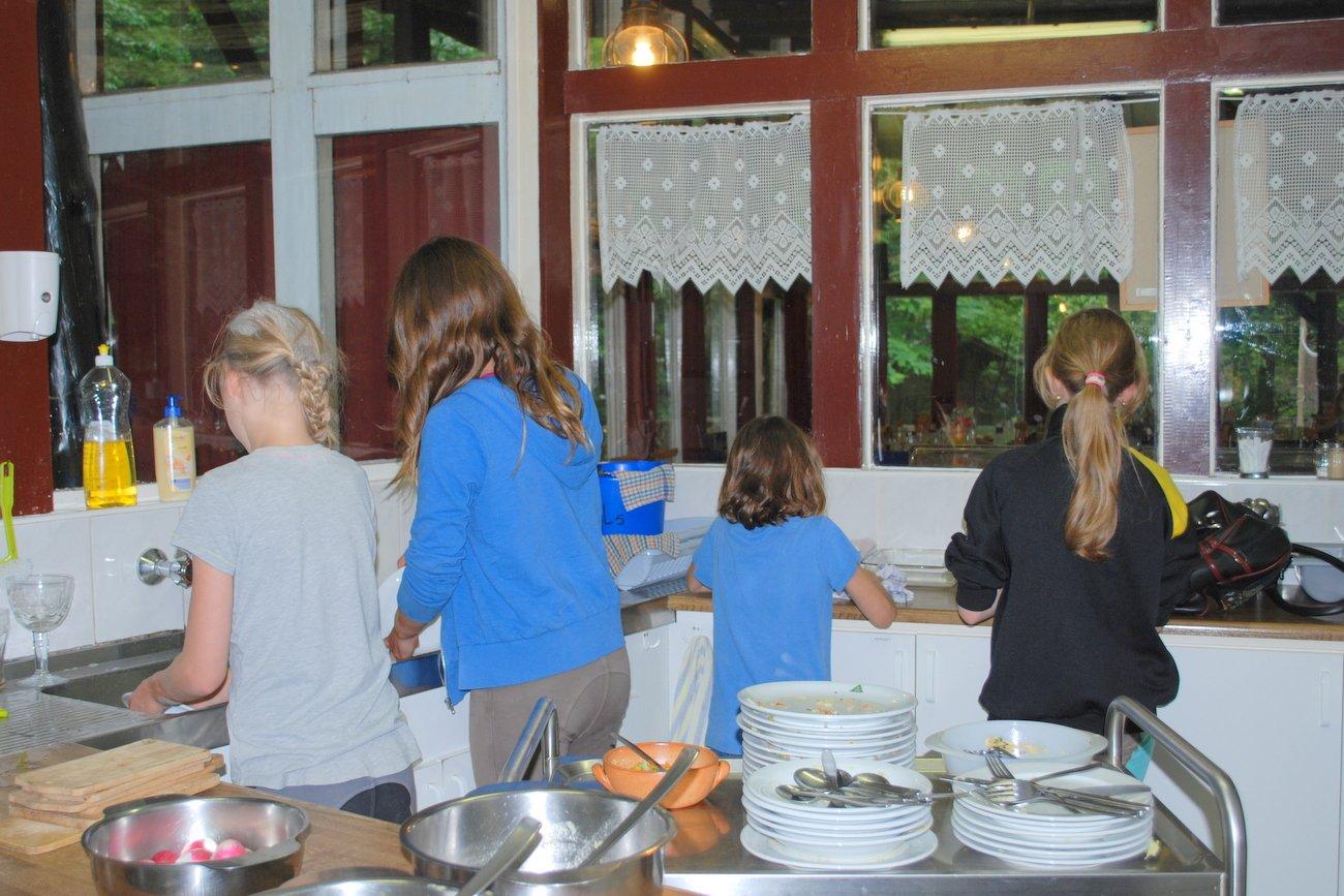 Samen de afwas doen in de trekkerskeuken