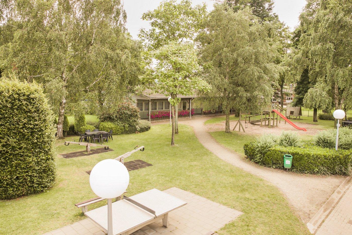 De tuin van hostel Die Loyale